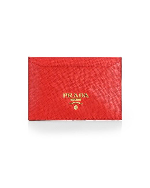 Prada | Red Saffiano Leather Card Case | Lyst