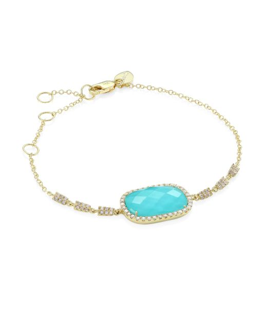 Meira T | Blue Diamond, Turquoise Doublet & 14k Yellow Gold Bracelet | Lyst