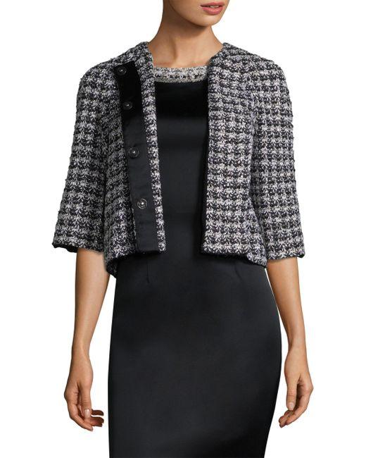 St. John - Black Check Tweed Jacket - Lyst