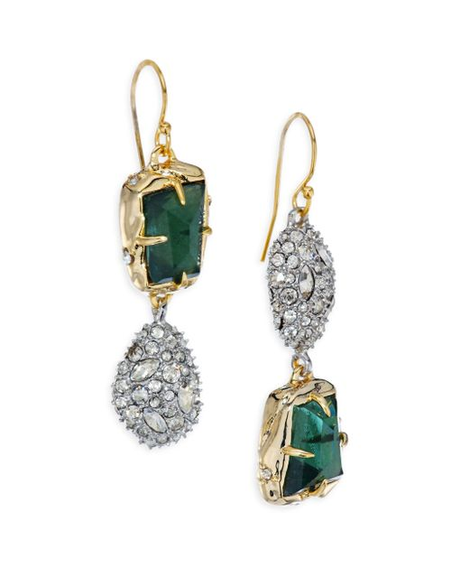Alexis Bittar | Multicolor Elements Green Amethyst, Pyrite Doublet & Crystal Drop Earrings | Lyst