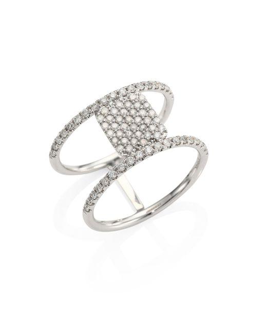 Meira T - Metallic Pavé Diamond & 14k White Gold Double-band Ring - Lyst