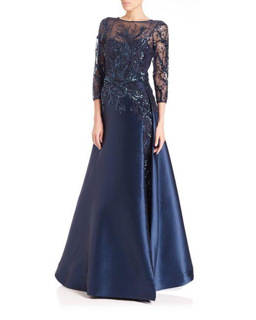 Teri Jon - Blue Bead-top Satin Gown - Lyst