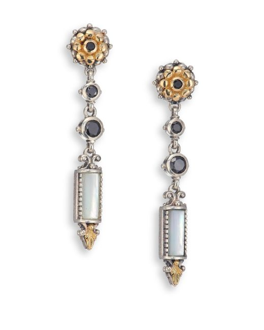 Konstantino | Metallic Ismene Mother-of-pearl, Black Spinel, 18k Yellow Gold & Sterling Silver Drop Earrings | Lyst