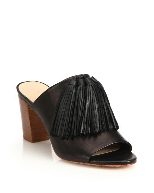 Loeffler Randall | Black Tassel Leather Block Heel Mules | Lyst