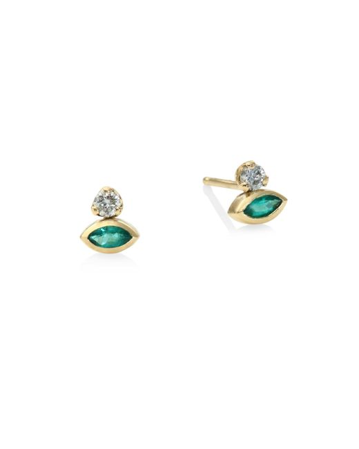Zoe Chicco - Metallic Diamond & Gold Bezel Set Marquis Emerald Stud Earrings - Lyst