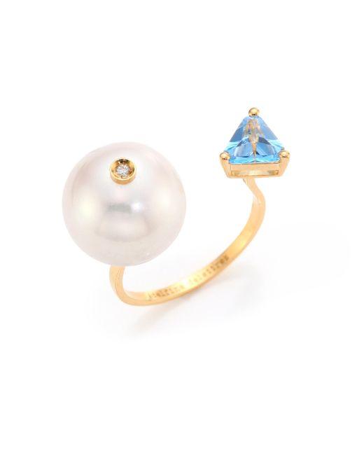 Delfina Delettrez - Metallic Diamond, Pearl & Topaz Trillion Ring - Lyst