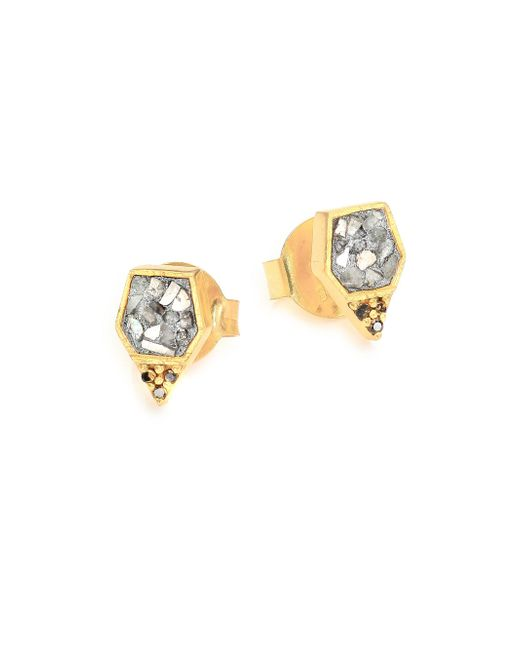 Shana Gulati - Metallic Charushila Zivar Black & Sliced Raw Diamond Stud Earrings - Lyst