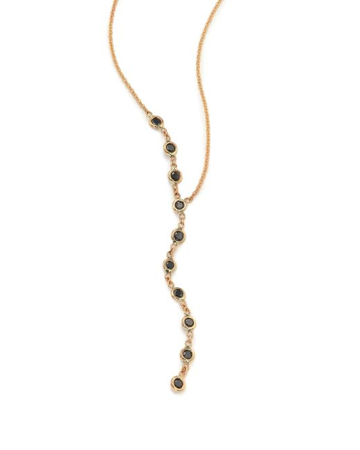 Jacquie Aiche - Metallic Black Diamond & 14k Yellow Gold Asymmetrical Y Necklace - Lyst