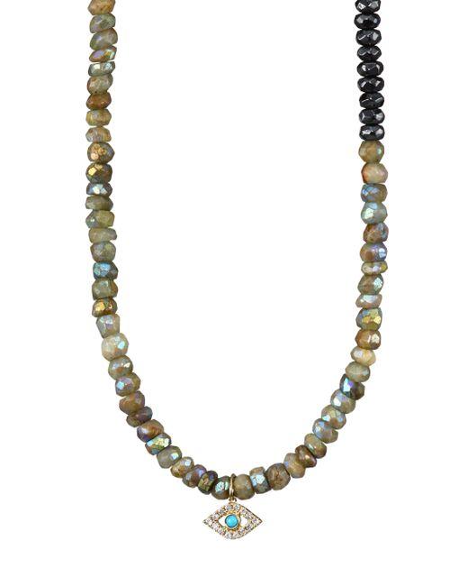Sydney Evan | Metallic Semi Precious Eye Pendant Necklace | Lyst