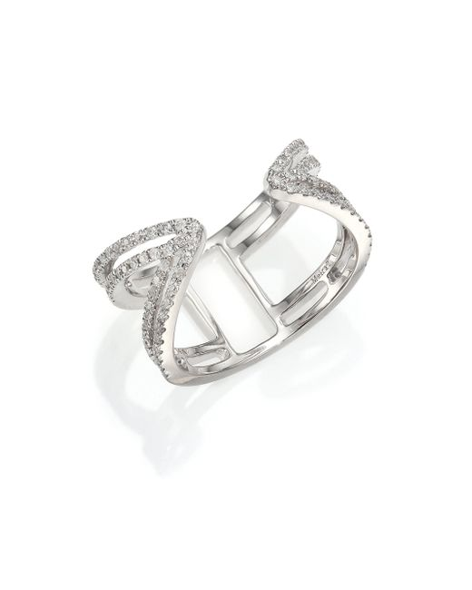 Meira T | Metallic Diamond & 14k White Gold Peaked Open Ring | Lyst