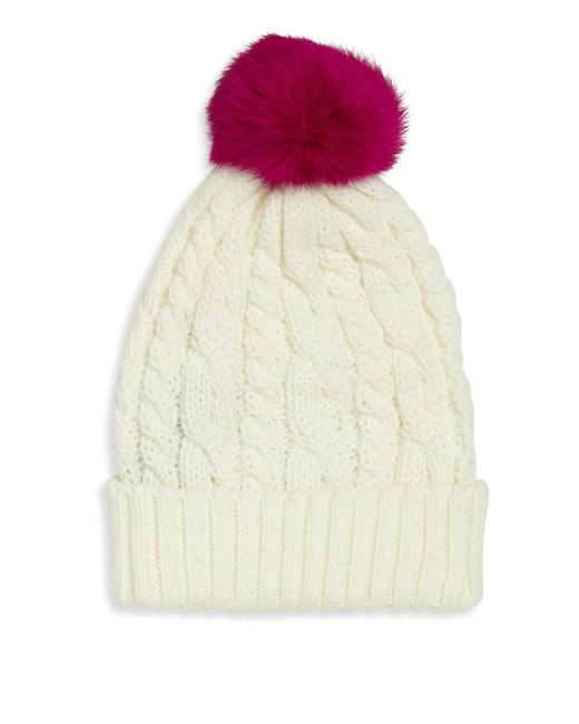 8e9e61c71b3 Lyst - Surell Girl s Rabbit Fur Pom-pom Cable-knit Hat - Ivory in White