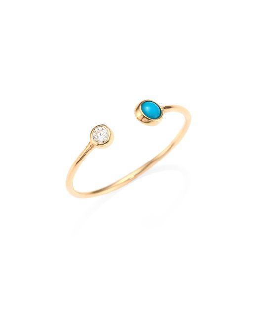 Zoe Chicco | Metallic Diamond, Turquoise & 14k Yellow Gold Open Ring | Lyst