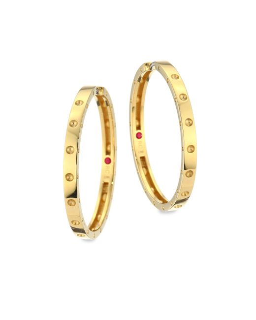 Roberto Coin - Metallic Symphony Pois Mois Large 18k Yellow Gold Hoop Earrings/1.25 - Lyst