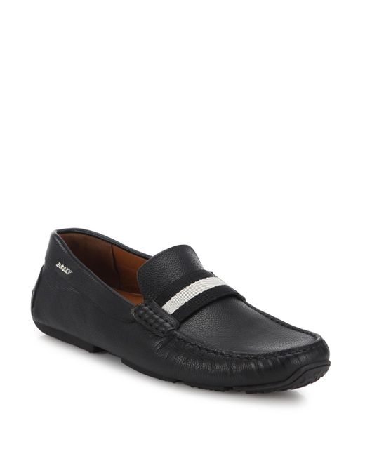 Bally - Black Pilot Pebbled Leather Driving Loafers for Men - Lyst