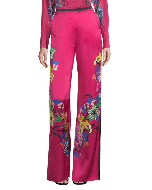 Etro - Pink High Waist Floral Print Wide-leg Trousers - Lyst
