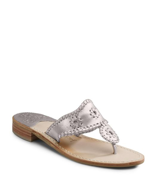 Jack Rogers - Metallic Palm Beach Whipstitched Leather Sandals - Lyst