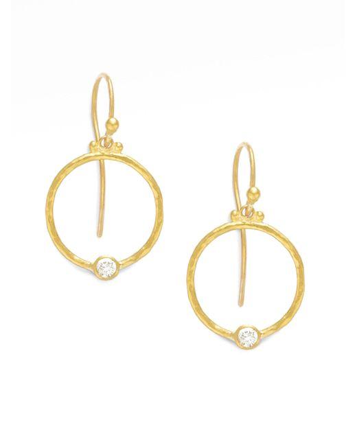 Gurhan - Metallic 24k Gold & Diamond Hoop Earrings - Lyst