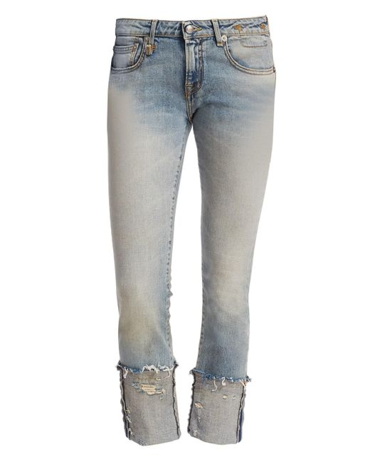R13 - Multicolor Women's Kate Skinny Frayed Cuff Light Wash Jeans - Leyton - Lyst