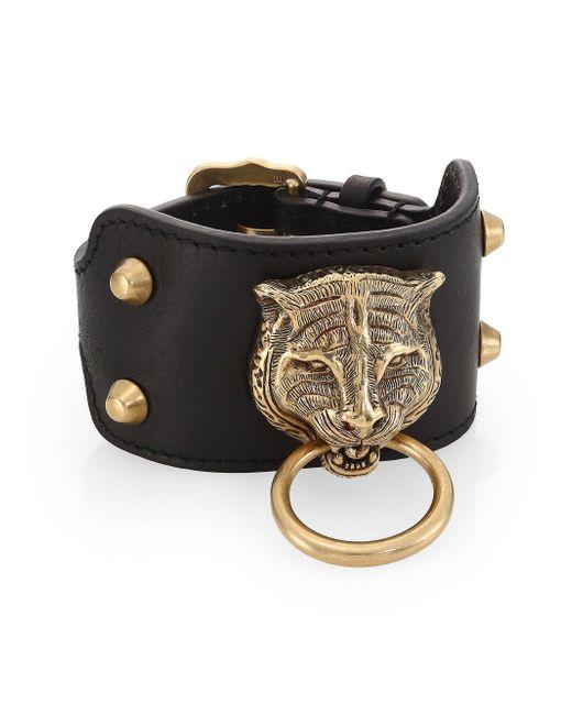 Gucci - Black Leather Bracelet With Feline Head for Men - Lyst