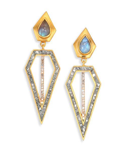 Shana Gulati - Metallic Chirala Diamond & Labradorite Drop Earrings - Lyst