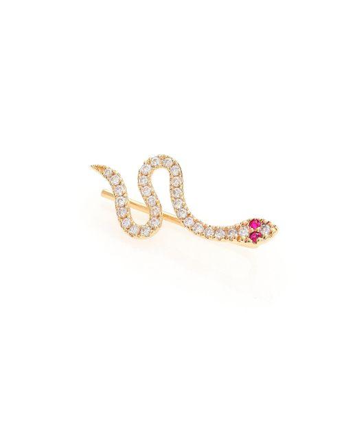 Sydney Evan - Metallic Diamond, Ruby & 14k Yellow Gold Snake Single Ear Cuff - Lyst