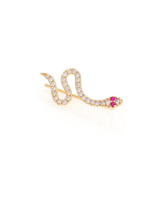 Sydney Evan - Metallic Diamond, Ruby & 14k Yellow Gold Snake Single Ear Cuff/left - Lyst
