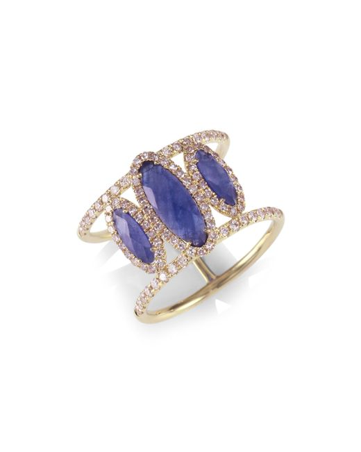 Meira T | Metallic Sapphire Oval, Diamond & 14k Yellow Gold Ring | Lyst