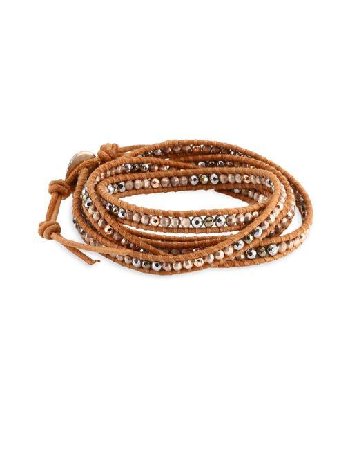 Chan Luu - Metallic Rose Gold Hematite Mix Wrap Bracelet - Lyst