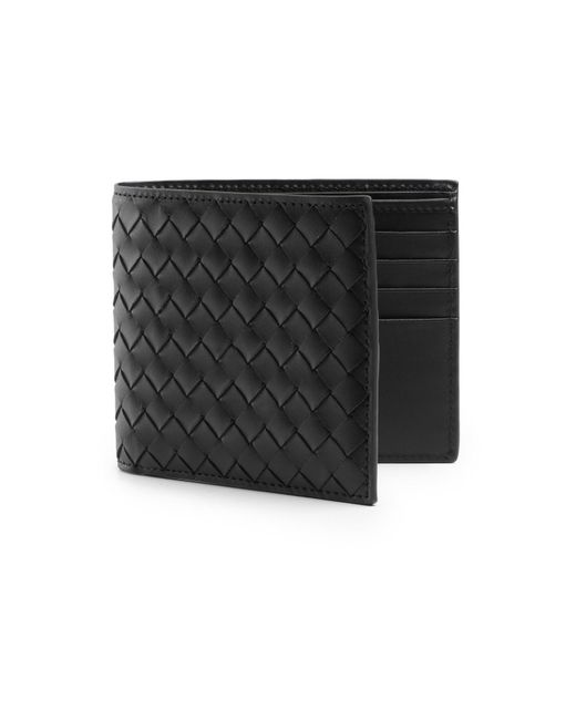 Bottega Veneta | Black Intrecciato Leather Wallet for Men | Lyst