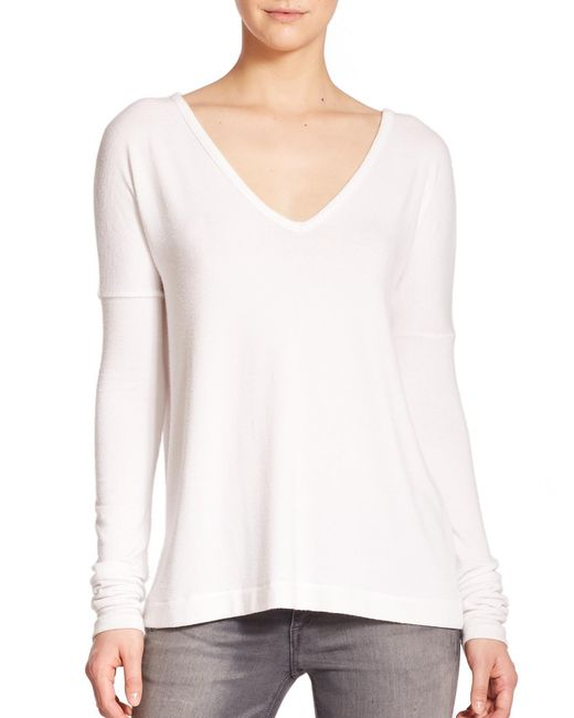 Rag & Bone - White Theo Long-sleeve V-neck Tee - Lyst