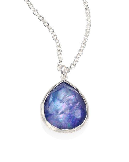Ippolita - Metallic Rock Candy® Clear Quartz, Mother-of-pearl & Lapis Mini Teardrop Pendant Necklace - Lyst