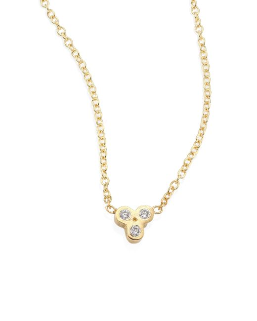 Zoe Chicco   Metallic Tiny Trio Diamond & 14k Yellow Gold Pendant Necklace   Lyst