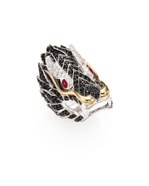John Hardy - Multicolor Naga Black Sapphire, Ruby, 18k Yellow Gold & Sterling Silver Dragon Ring - Lyst