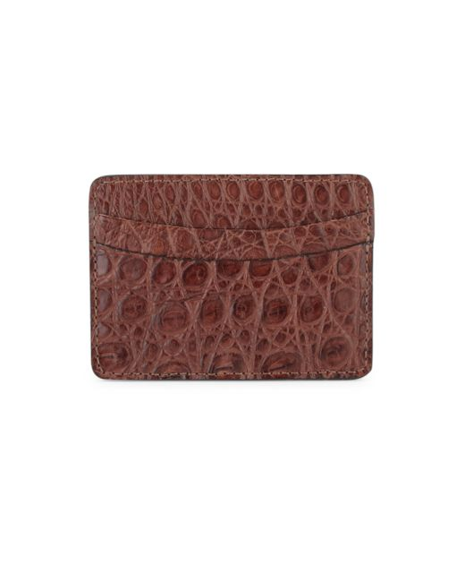 Saks Fifth Avenue - Brown Crocodile Card Case for Men - Lyst