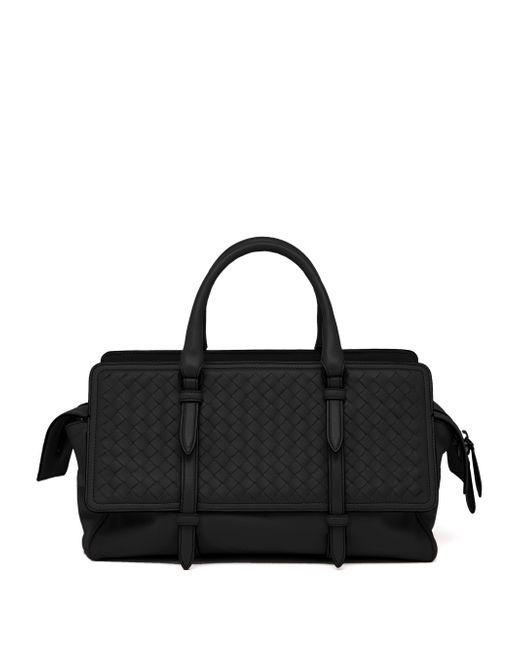 Bottega Veneta   Black Belted Basket-weave Leather Satchel   Lyst