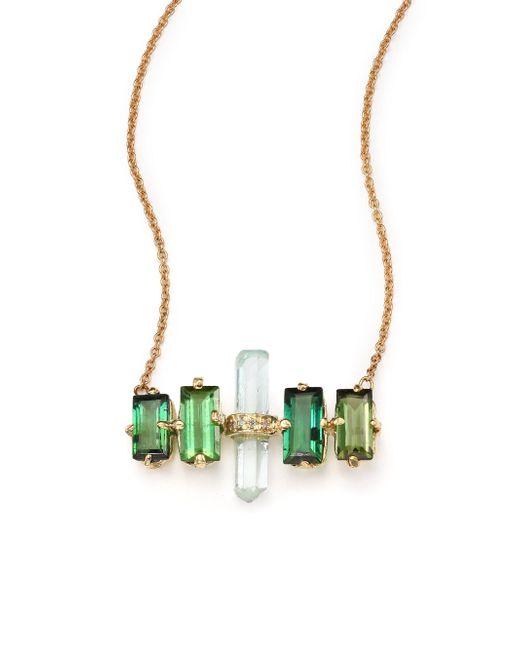 Jacquie Aiche | Metallic Green Tourmaline, Aquamarine & 14k Yellow Gold Aura Bar Pendant Necklace | Lyst