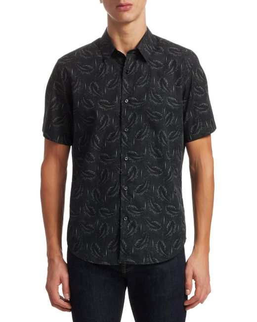 Lyst Theory Quill Cotton Button Down Shirt In Black For Men