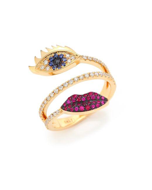 Delfina Delettrez - Metallic Marry Me Blue Sapphire, Diamond, Rubies & 18k Yellow Gold Eyes & Lips Ring - Lyst