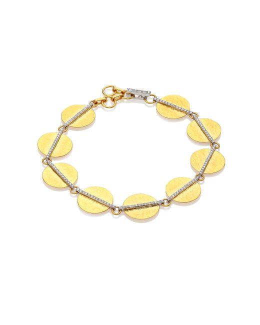 Gurhan - Metallic Lush Diamond, 24k Yellow Gold & 18k White Gold Bracelet - Lyst