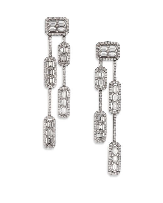 Roberto Coin - Metallic Baguette Deco Diamond & 18k White Gold Double-strand Drop Earrings - Lyst