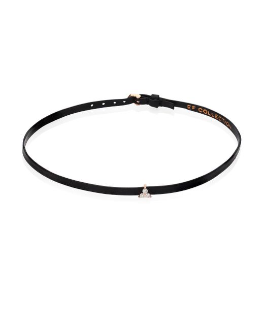 EF Collection | Black Mini Diamond Trio Leather Choker | Lyst