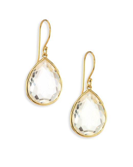 Ippolita - Metallic Rock Candy Gelato Clear Quartz & 18k Yellow Gold Medium Teardrop Earrings - Lyst