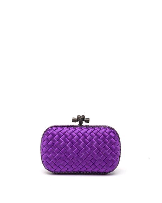 Bottega Veneta - Purple Woven Mini Knot Clutch - Lyst