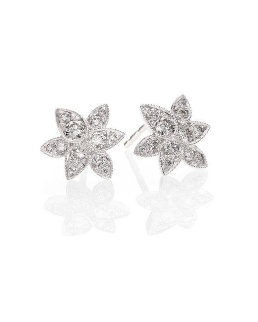 Kwiat - Sunburst Diamond & 18k White Gold Petal Stud Earrings - Lyst