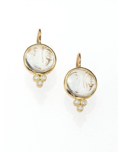 Temple St. Clair - Metallic Celestial Rock Crystal, Diamond & 18k Yellow Gold Small Moonface Earrings - Lyst