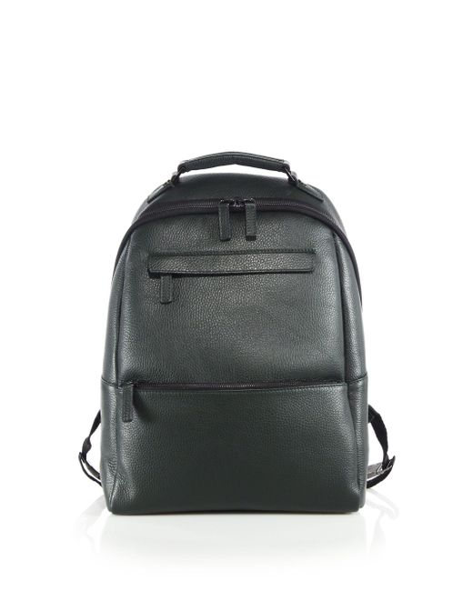 Saks Fifth Avenue - Green Oblique-zip Leather Backpack for Men - Lyst
