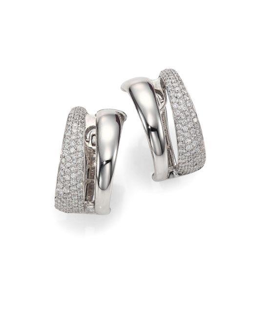 Roberto Coin - Metallic Scalare Diamond & 18k White Gold Huggie Earrings - Lyst