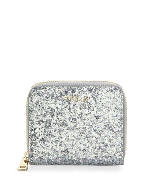 Furla - Metallic Babylon Leather Zip-around Glitter Wallet - Lyst