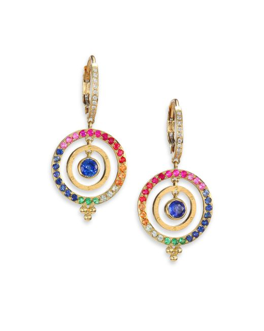 Temple St. Clair - Celestial Multicolor Sapphire, Diamond & 18k Yellow Gold Piccolo Tolomeo Drop Earrings - Lyst