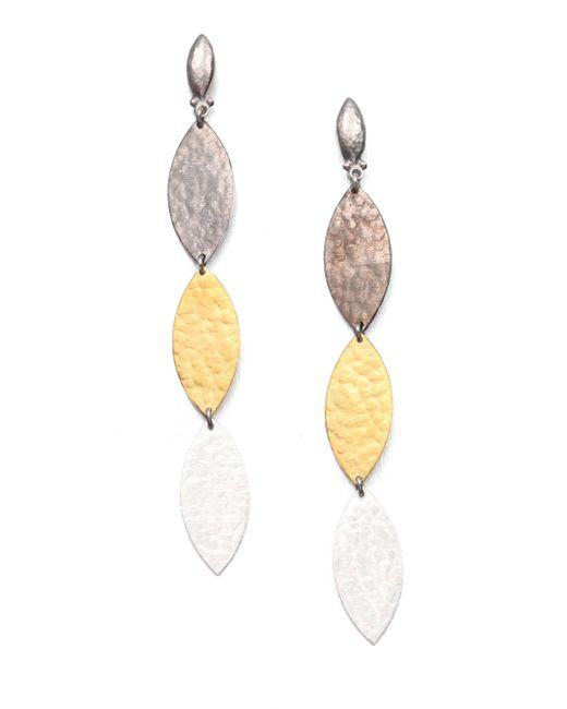 Gurhan | Metallic Willow 24k Yellow Gold & Sterling Silver Leaf Triple Drop Earrings | Lyst